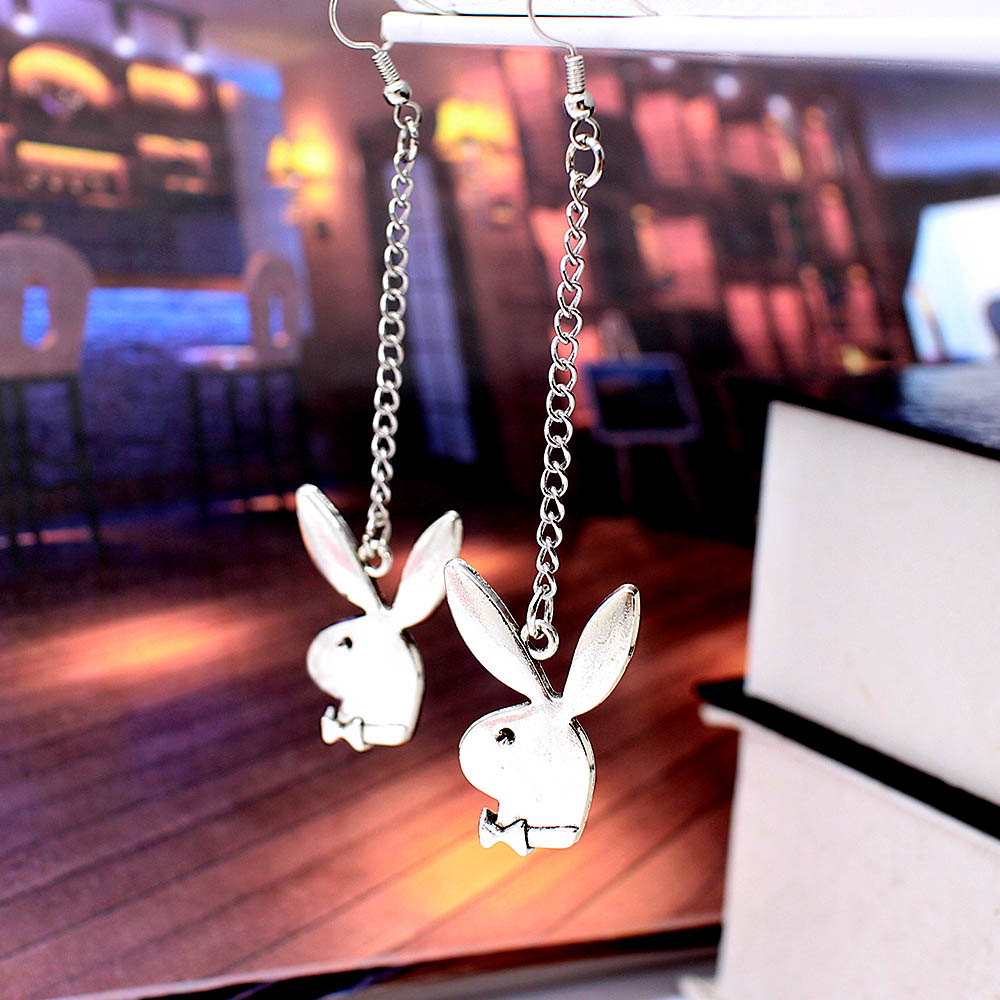 punk funny animals bunny dangle earring vintage hiphop rabbit head drop earrings for women girls gifts brincos para as mulheres 2