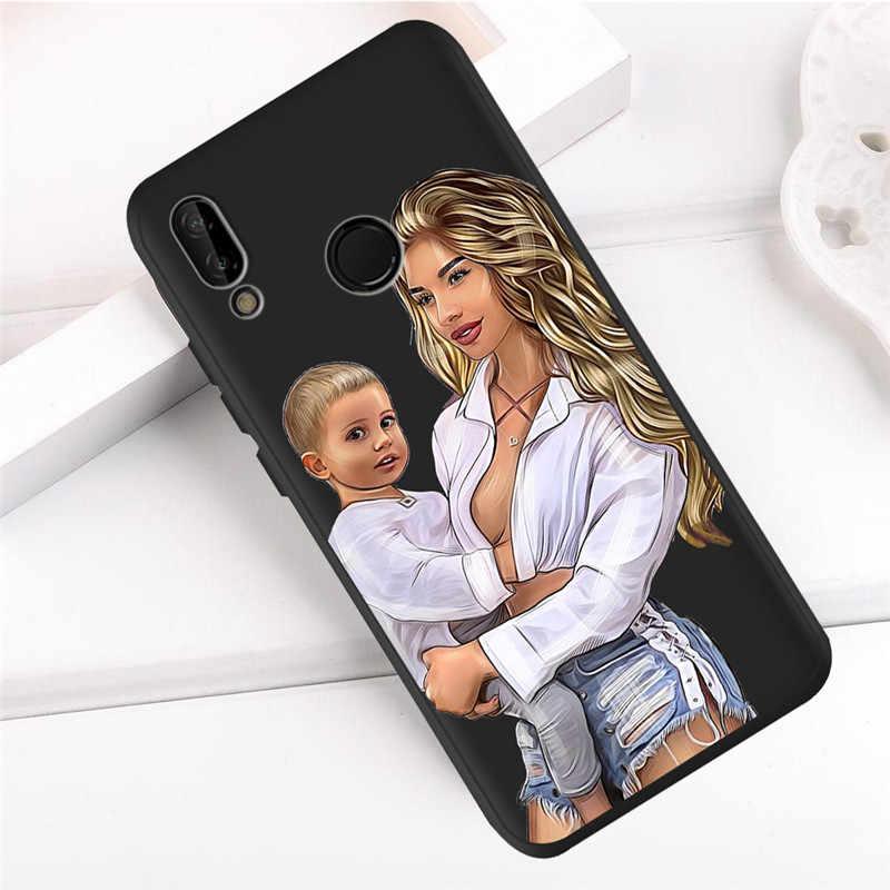 Для мамы с дочкой Мода для huawei P8 P10 P20 P30 Коврики 10 20 Honor 8 8X 8C 9 V20 20i 10 Lite Plus Pro чехол Etui принципиально Капа