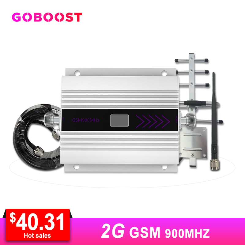 GSM Cellular Signal Amplifier Mini Mobile Phone Signal Booster Repeater 900MHZ 2G 50ohm 60dB Yagi+Whip Antenna Coaxial Cable #