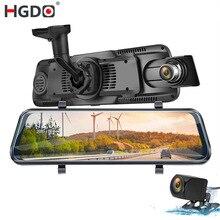 "HGDO 10 ""TOUCH Car DVR สตรีมมิ่งกระจกมองหลังกล้อง Dual เลนส์ Dash กล้อง FHD 1080P registrator Dash CAM"