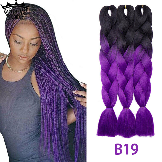 24inch Jumbo Braids Long Strands Ombre Braid Hair Synthetic Braiding Hair Extensions for Woman Black purple 100 Colors Available