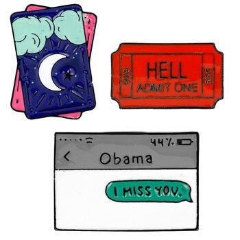 Broche del pines esmaltados de moda con letras de Obama I Miss You broches de Metal con forma de TAROT camisa de mezclilla Pin para solapa con insignia broches joyería