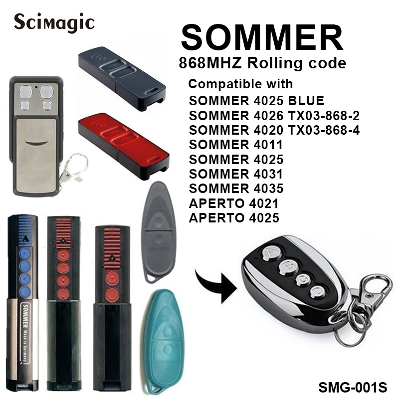 Sommer 868mhz Garage Door Gate Remote Control For Sommer Henderson 4020/4025/4026 868 Mhz
