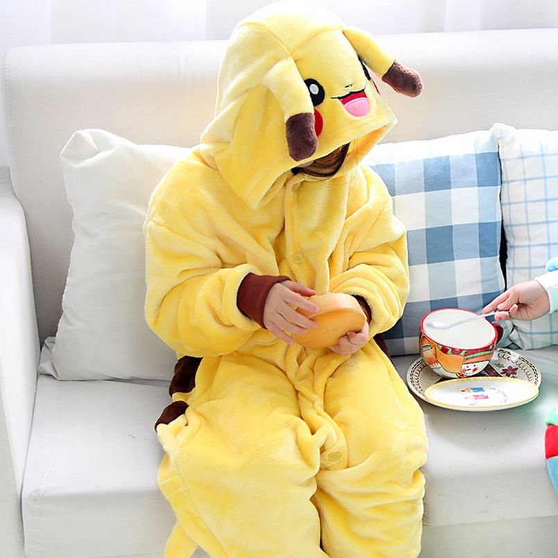 Kids Halloween Costumes Cartoon Animal Pikachu Pokemon Cute Outfit Flannel Special Party Boy Girl Onesie Pajama Suit
