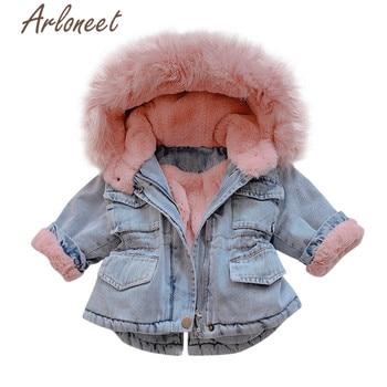 ARLONEET Denim Coats Baby Girls Warm Winter Thick Coat Zipper Fur Fleece Hooded Outerwear Pockets Kids Baby Coat Girls Outerwear