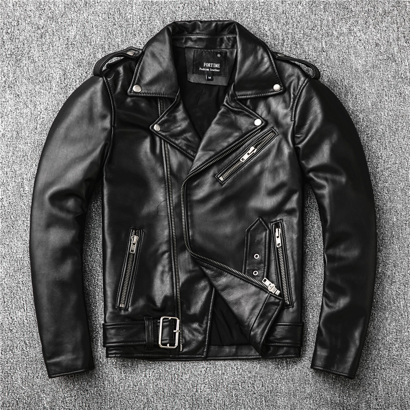 Sales New Genuine Jacket Mens Motor Biker Sheepskin Coat Slim Plus Size Jackets Leather Outwear