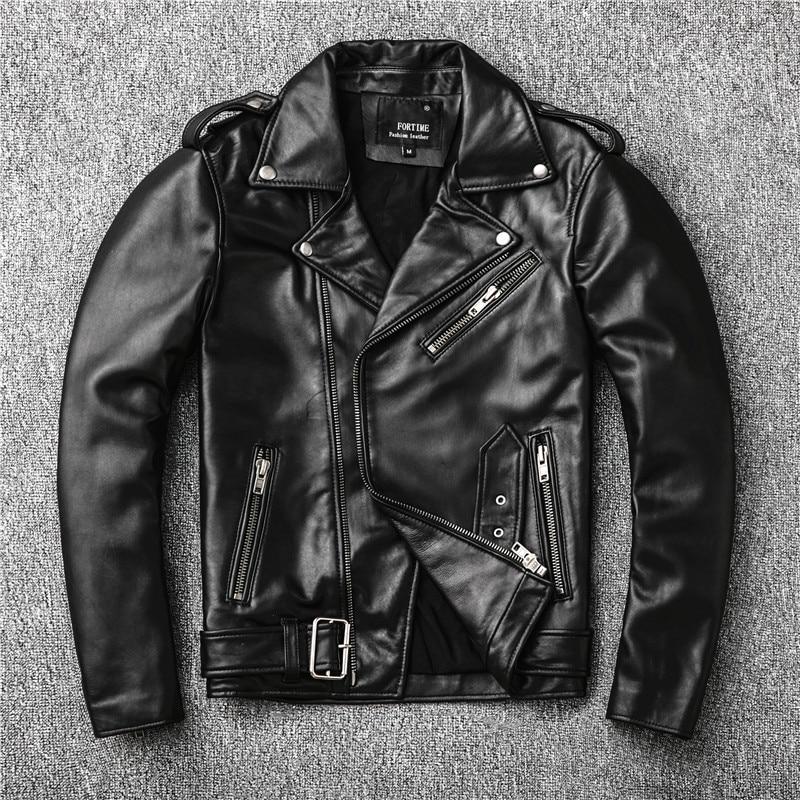 Sales New Genuine Jacket Mens Motor Biker Sheepskin Coat Slim Plus Size Jackets Leather Outwear
