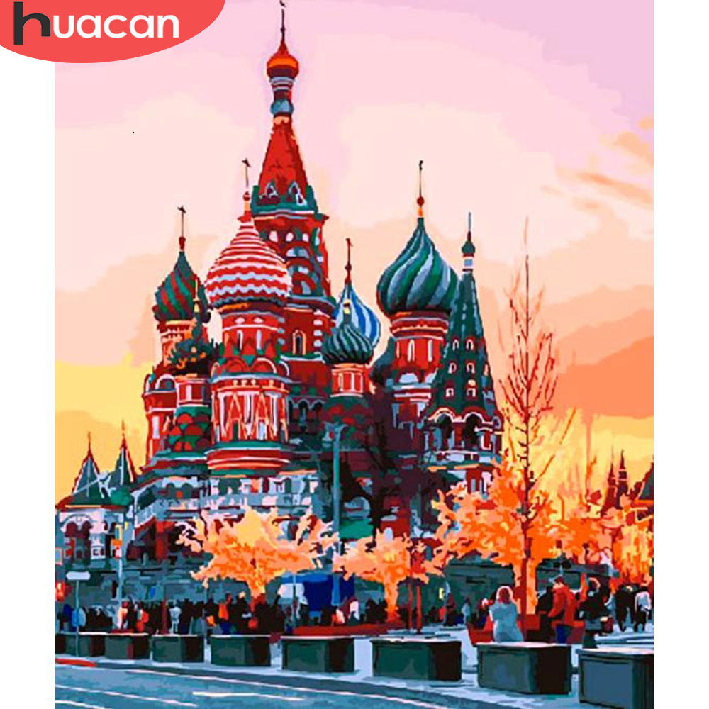 HUACAN Pictures By Number City Landscape HandPainted Kits Drawing Canvas Coloring Oil Painting Church Home Decoration