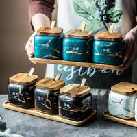 Nordic Style Ceramic Matte Marbled Seasoning Jar Oil Salt Cans Household Seasoning Box Kitchen Bottle With Wooden Tray And Spoon