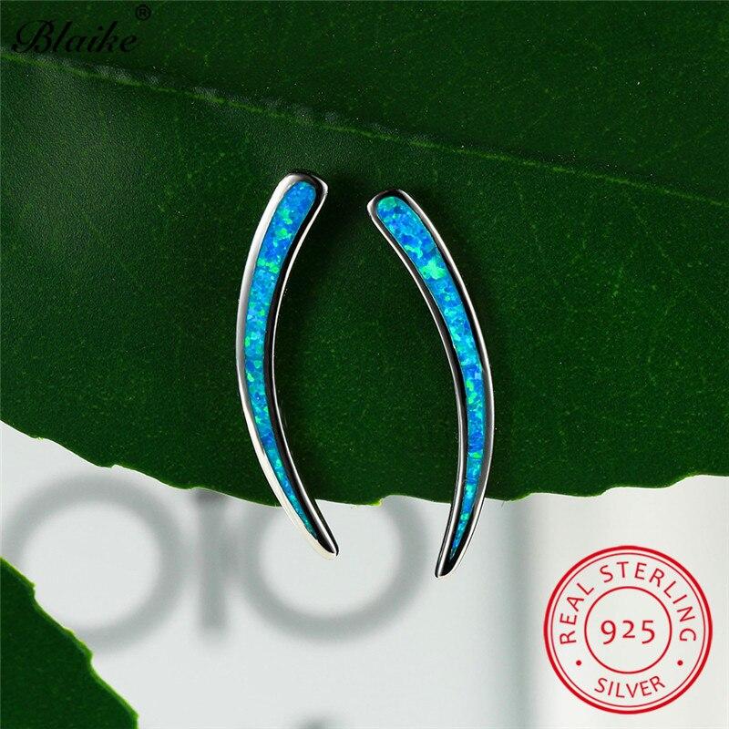 Simple 925 Sterling Silver Earring Blue Fire Opal Stud Earrings For Women Men Minimalist Wedding Ear Studs Party Fine Jewelry