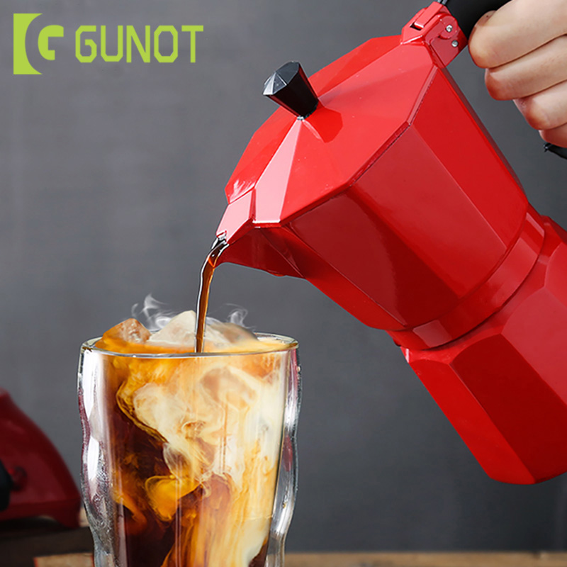 GUNOT Coffee Maker Pot Aluminum Mocha Espresso Percolator Pot Coffee Kettle Cafetera Espresso Percolator Stovetop Coffee Maker