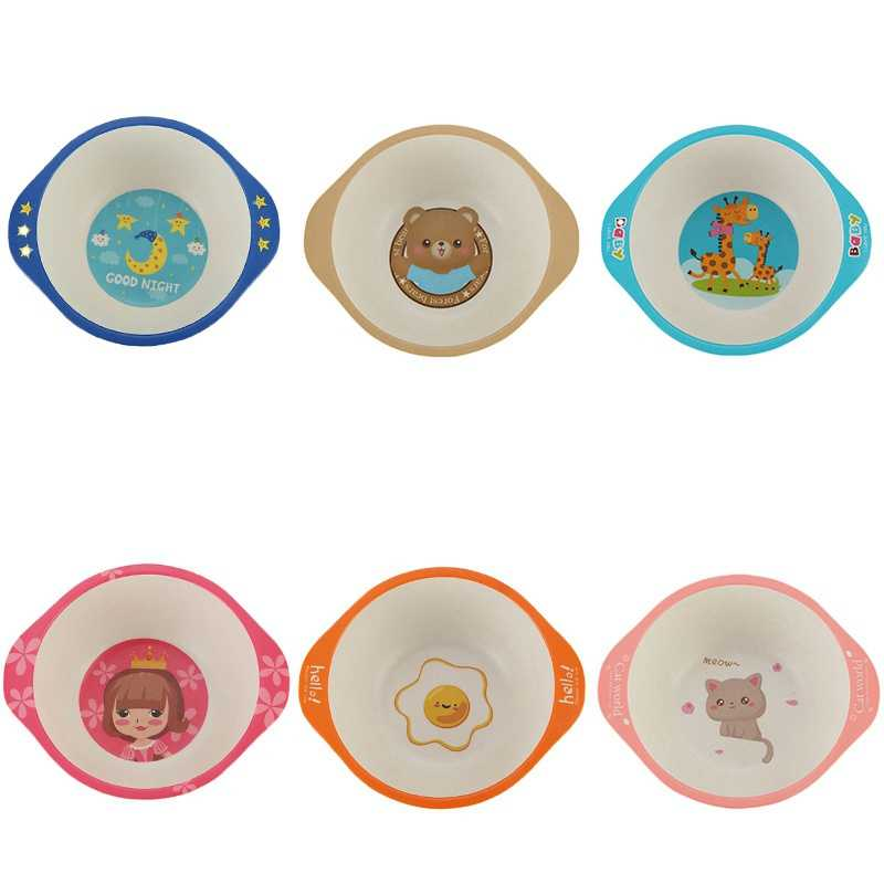 Kids Baby Natural Bamboo Fiber Bowls 2019 Cartoon Animal Dishes Baby Feeding Tableware Children Infant Toddler Portable Plates