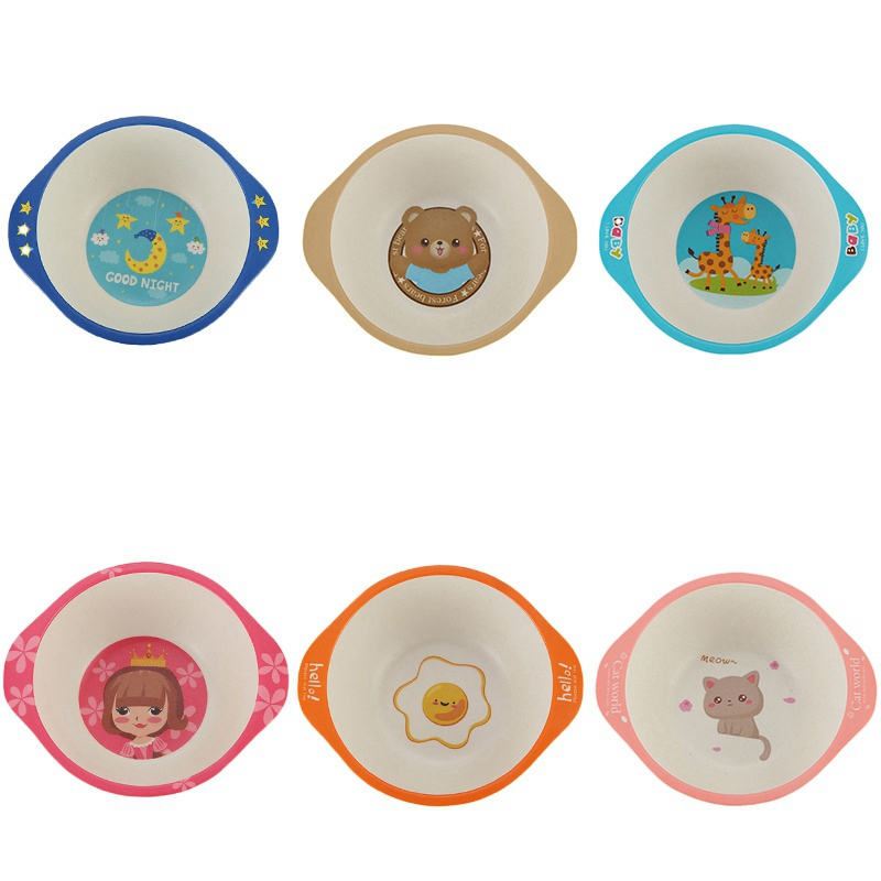 Kids Baby Natural Bamboo Fiber Bowls 2019 Cartoon Animal Dishes Baby Feeding Tableware Children Infant Toddler Portable Plates