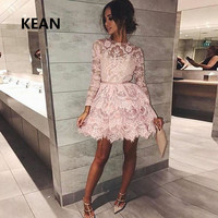 2019 Pink Homecoming Dresses Full Sleeves Knee Length Lace Tiered vetidos Elegant Cocktail Dresses