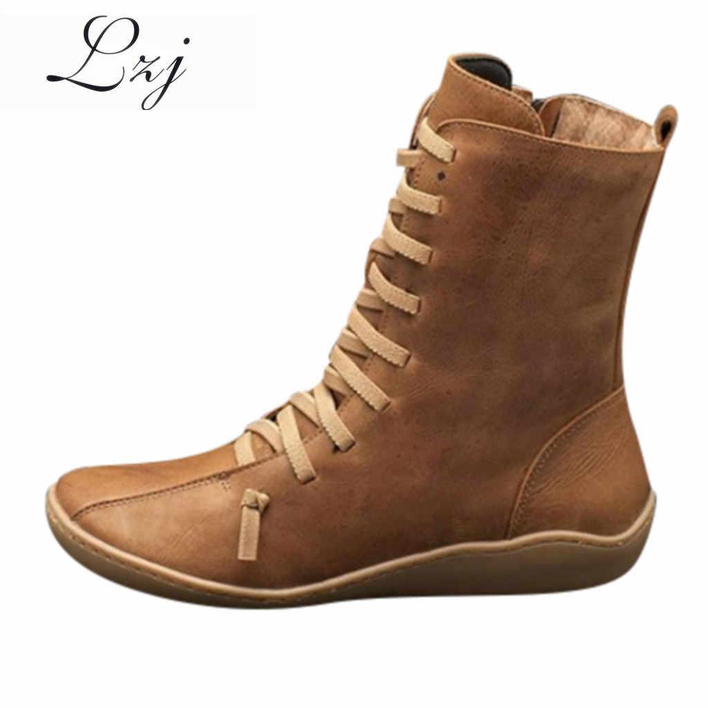 Kadın kış kar botları hakiki deri ayak bileği yay düz ayakkabı kadın kısa kahverengi Botas kürk ile 2020 kadınlar için dantel Up çizmeler