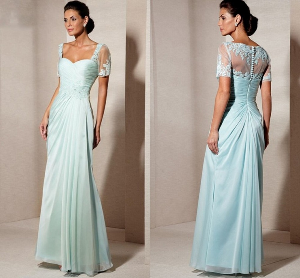 2015 New A-Line Sweetheart Long Chiffon Mother Of The Bride Dresses With Sleeves Short Sleeve Prom Gown Dress F1245