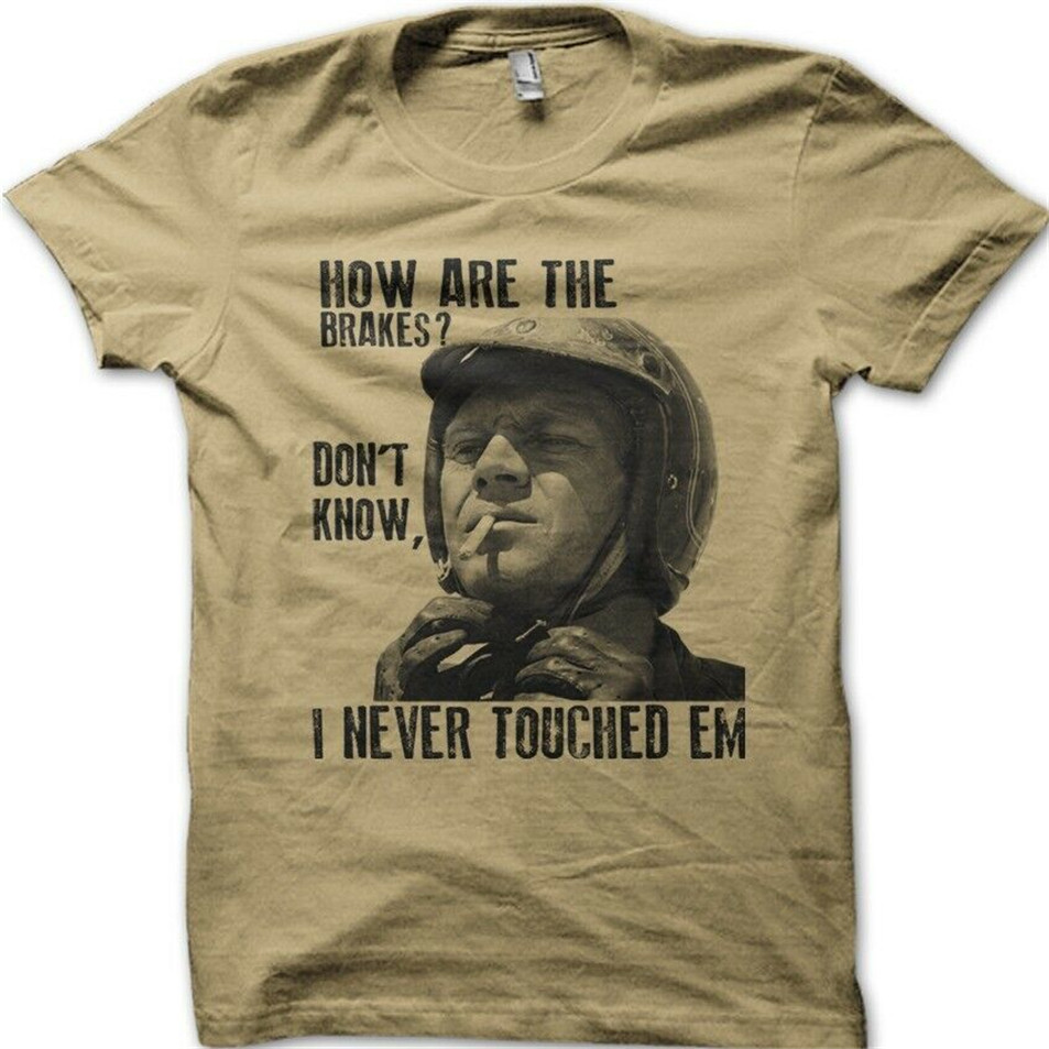 Biker Motorcycle Steve Mcqueen Hows The Brakes Cafe Racer Printed T-Shirt 9104 Graphic Tee Shirt