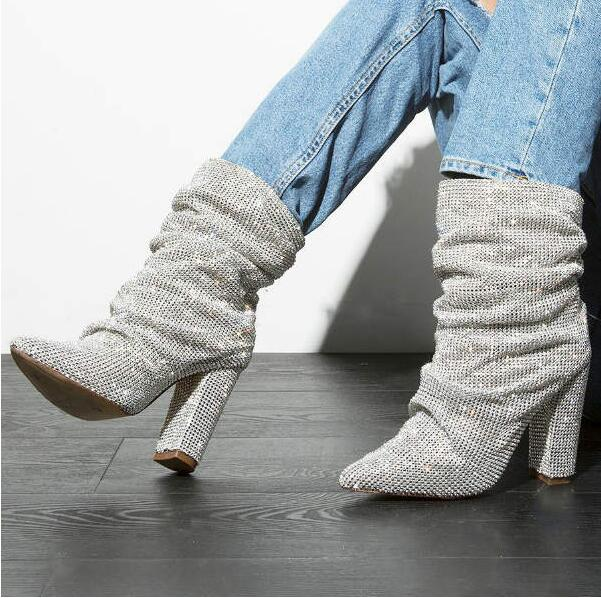 Womens Bowknot Slouch Boots Pointy Toe Runway Sequins Patent Leather Slim Heels