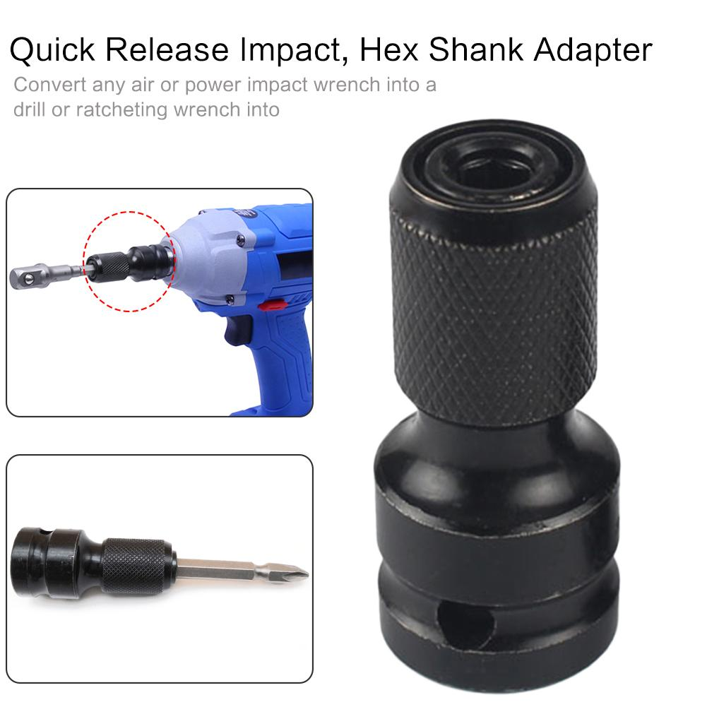 Hex Shank Power Drill Socket 1/2 Inch Square To 1/4 Inch Hex Socket Adapter Drill Chuck Converter For Quick Release Impact Drill