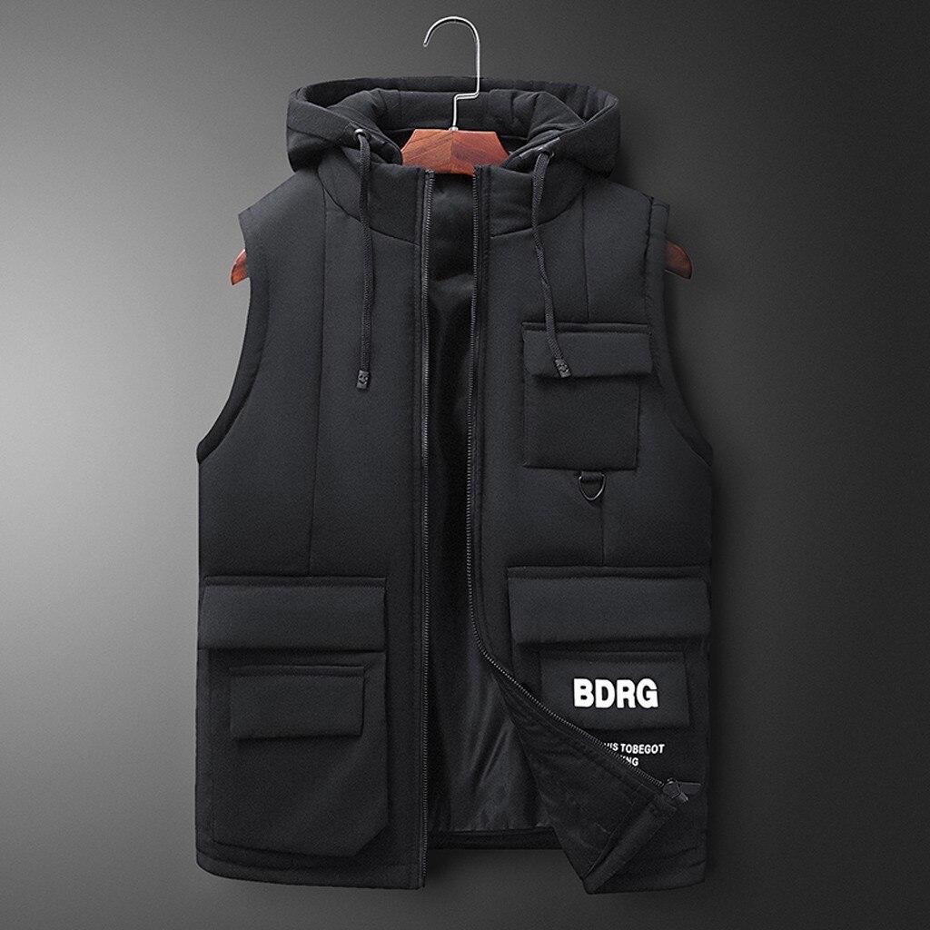 Nouveau mode hommes automne hiver à capuche solide Outwear Gilet veste hauts Homme coton rembourré travail Gilet Homme Gilet Y927
