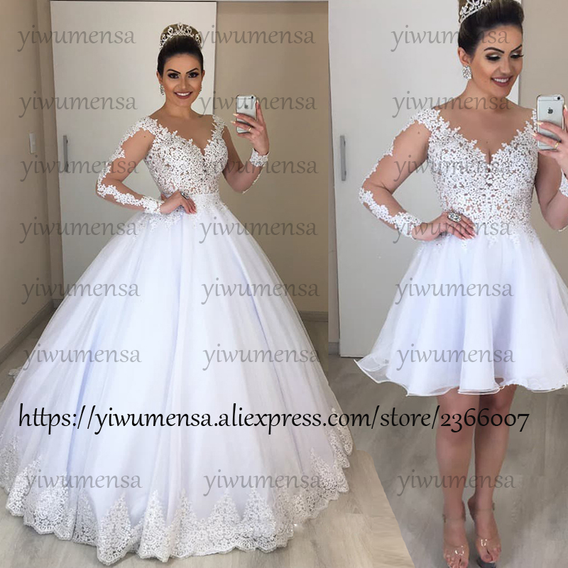 Vestido De Noiva 2 In 1 Wedding Dress With Detachable Train 2 Pieces Wedding Gowns Bridal Dress Robe De Marriage 2 EM 1 Dresses