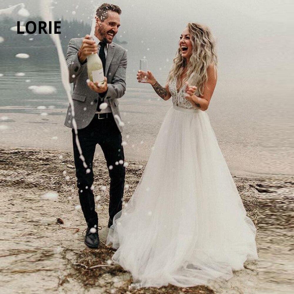 LORIE Boho Beach Wedding Dresses 2020 Elegant Lace Appliqued Soft Tulle Sleeveless Bridal Gowns V-neck Princess Party Dresses