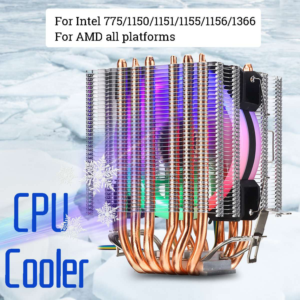 6 Heat Pipe <font><b>CPU</b></font> <font><b>Cooler</b></font> <font><b>RGB</b></font> LED Fan 4pin <font><b>CPU</b></font> Fan Cooling <font><b>Cooler</b></font> Heatsink Quiet for Intel 775/1150/1151/1155/1156/1366 for AMD All image