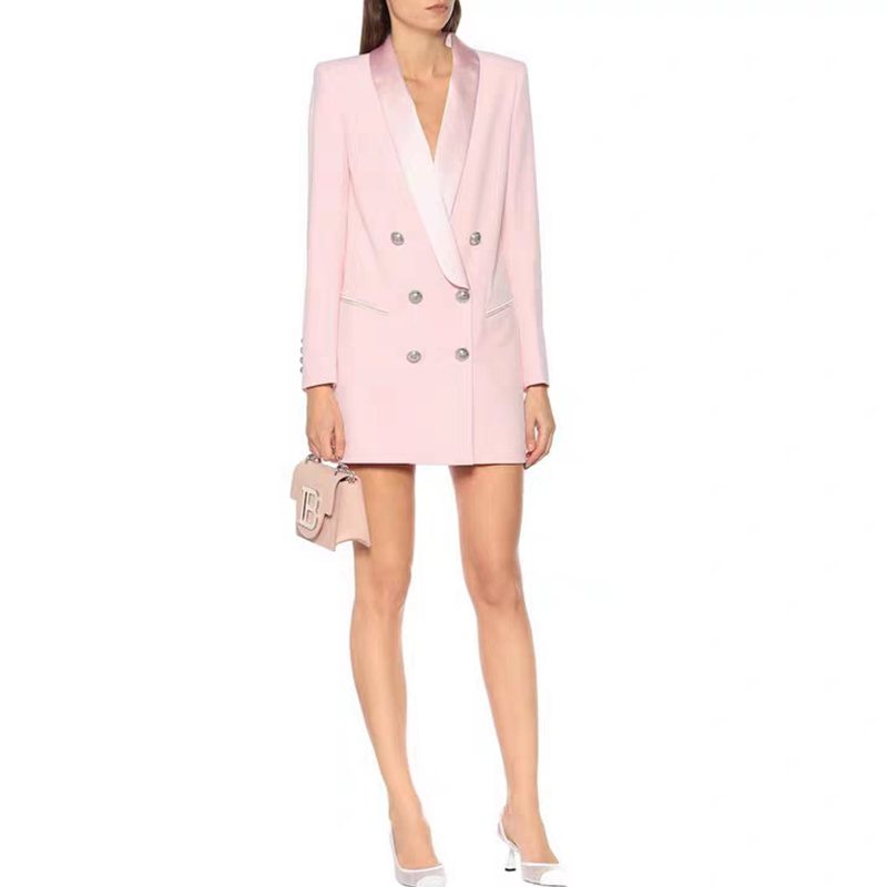 HIGH QUALITY Long Blazer Dress 2020 New Pink Coat Classic Double Breasted Bottons Buckle Satin Shawl Collar Women Blazer Suit