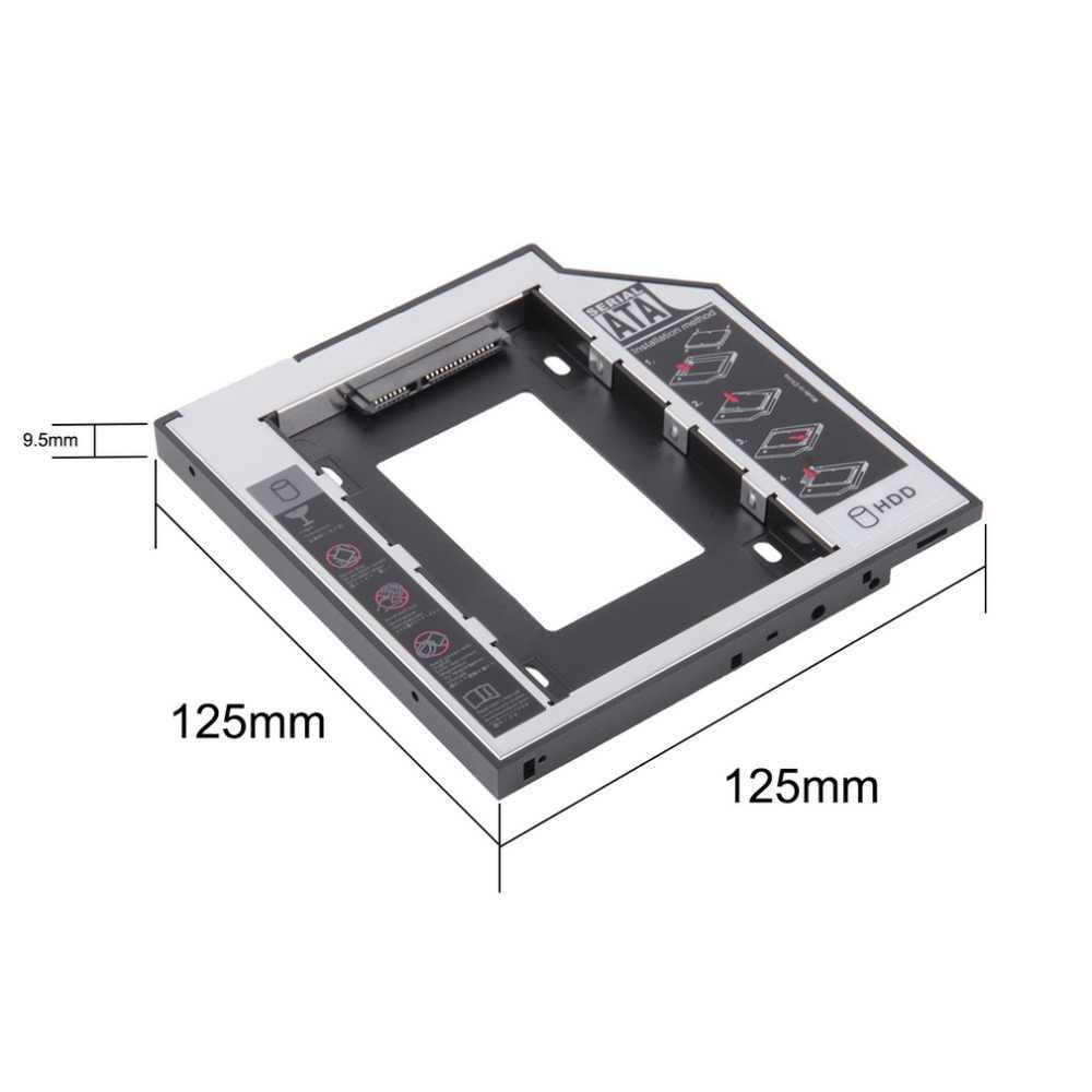 Uniwersalny 2.5 2nd 9.5mm Ssd Hd dysk twardy SATA napęd dysku HDD Caddy Adapter Bay na płytę Cd lub Dvd Rom Optical Bay