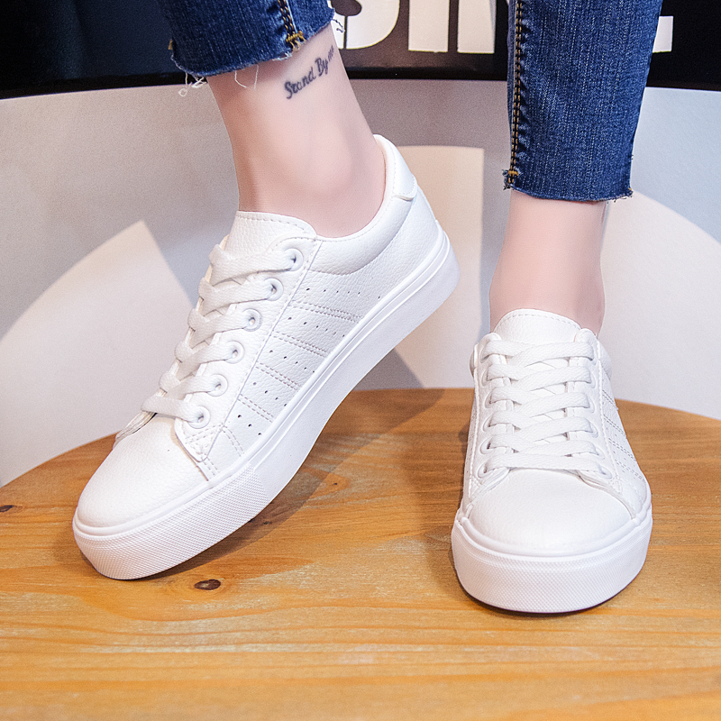 Image 3 - Women Sneakers Leather Shoes 2020 Spring Trend Casual Flats Sneakers Female New Fashion Comfort Lace up Vulcanized Shoeswinter fashionwinter winterwinter white -