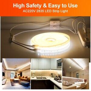 Image 3 - 220V LED Streifen 2835 Hohe Helligkeit IP65 Wasserdichte Flexible LED Lampe Hohe Sicherheit Outdoor LED Licht Band mit 1 meter Draht + Stecker