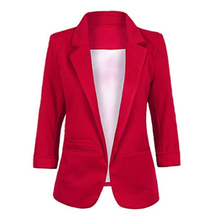 Blazers Woman Candy-colored Cropped Sleeves Small Suit Commuter OL Slim Suit For Feminino Robe Femme