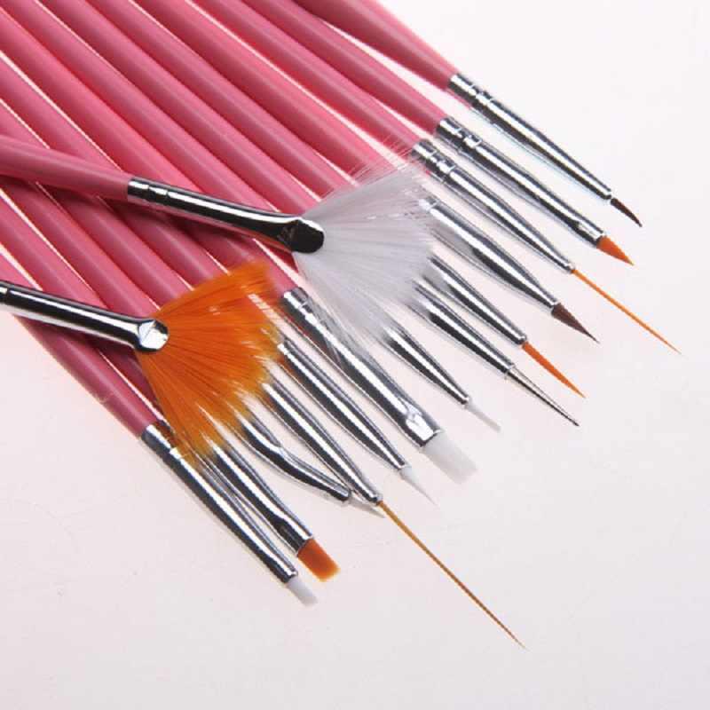 15 ชิ้น/เซ็ต UV เจลแปรง Liner จิตรกรรมปากกาวาดคริลิคแปรงสำหรับเล็บ Gradient Rhinestone Handle Nail Art เครื่องมือ