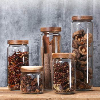 Sealed Glass Jars and Bamboo Lid Storage Bottles High Capacity Glass Containers for Food Cereal Dispenser Spices Candy Jar
