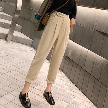 autumn winter Corduroy Pants women high waist pockets trousers women plus size 2019 streetwear Harem pants pantalon femme 3