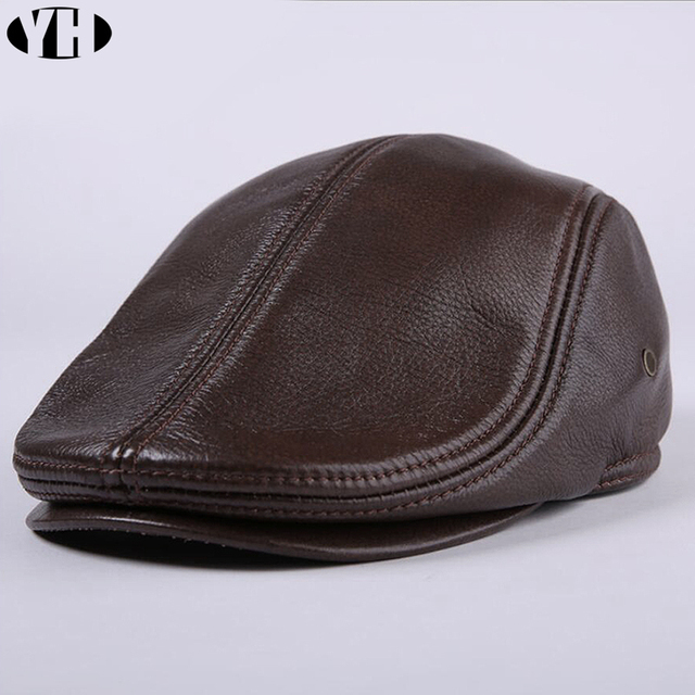 2020 yepyeni erkek gerçek hakiki deri şapka beyzbol şapkası marka Newsboy/bere şapka kış sıcak caps şapka inek derisi kap