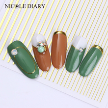 1pc Rose Gold Silver 3D Nail Sticker Curve Stripe Lines Nails Stickers Adhesive Striping Tape Nail Art Stickers Decals DIY Deco cheap NICOLE DIARY As the pictures show NDN48573 Sticker Decal Plastic 1 Pc Nail Stickers