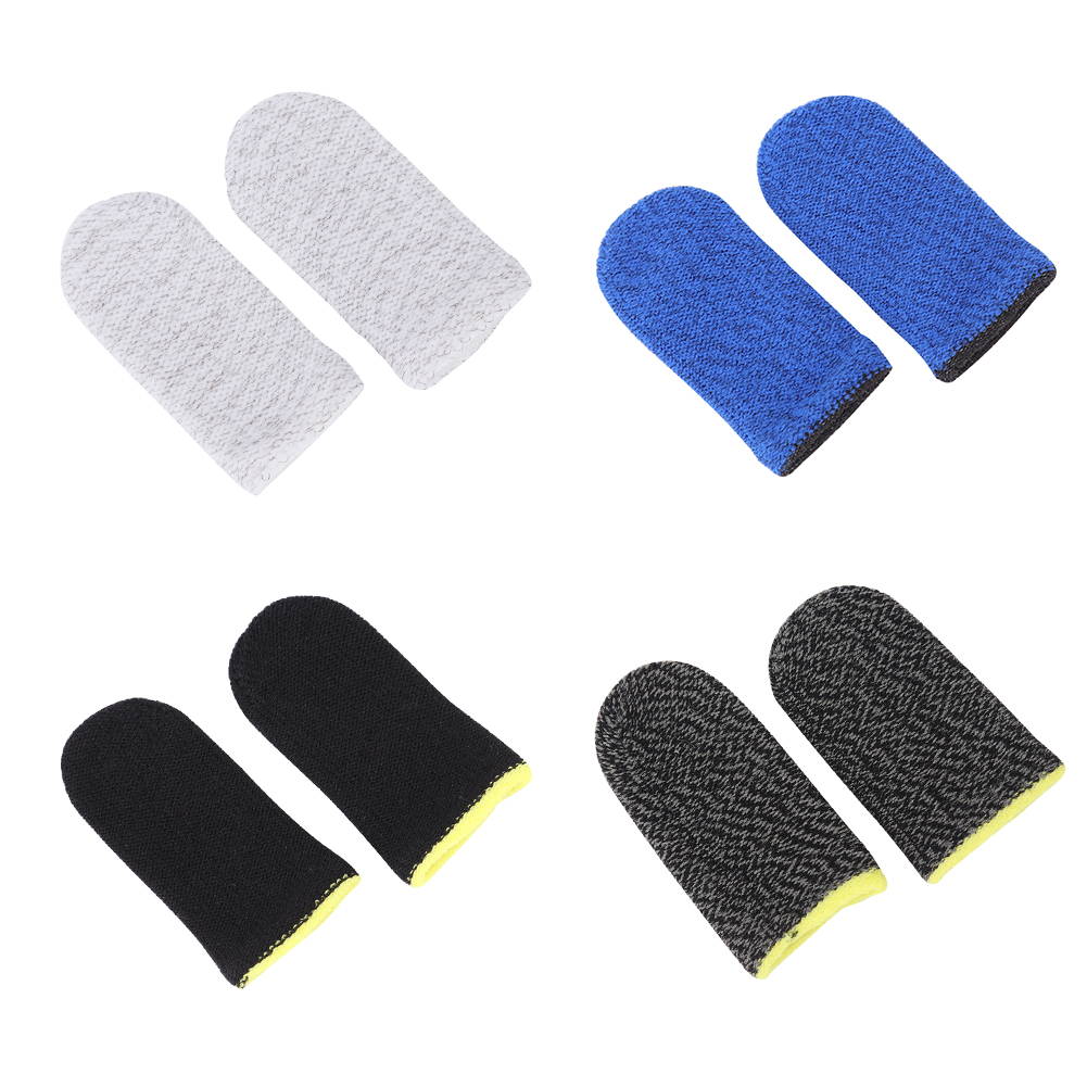 2pcs Breathable Game Controller Finger Cover Sweat Proof Non-Scratch Sensitive Touch Screen Gaming Finger Thumb Sleeve Gloves Fo