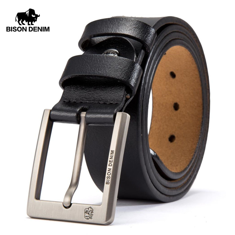 BISON DENIM Cowskin Belt Men Accessories Cowboy Genuine Leather Belts For Men Vintage Pin Buckle Mens Belts Gift For Man N71015