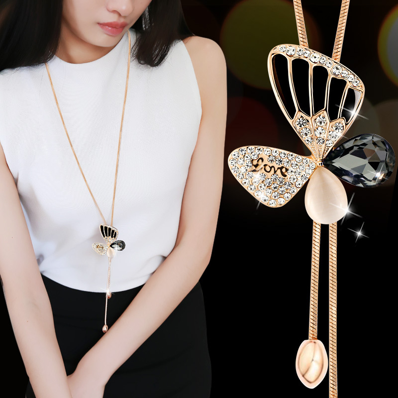 BYSPT Collier Femme Long Gray Crystal Necklaces Pendants for Women Round Statement Necklace Maxi Colar Chain