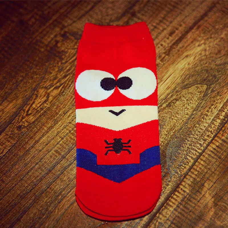 36-43 letnie męskie skarpetki Harajuku Hip Hop Ninja Batman Superman SpiderMan kapitan ameryka Avengers krótki nowość Sokken D129