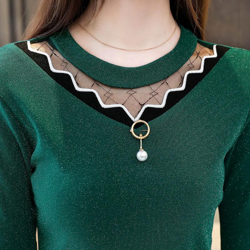 Women Blouse Autumn Winter 2019 Spring Long Sleeve Blouses Velvet Lace Thin Shirt Streetwear Mesh Shirts Plus Size Elegant Tops