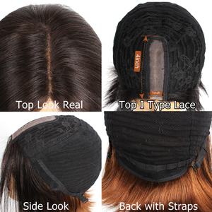 Image 3 - Bobbi Collection Straight Human Hair Wigs I Type Lace Part Wig Cheap Middle Part Full Wigs Short Bob Style Brazilian Remy Hair