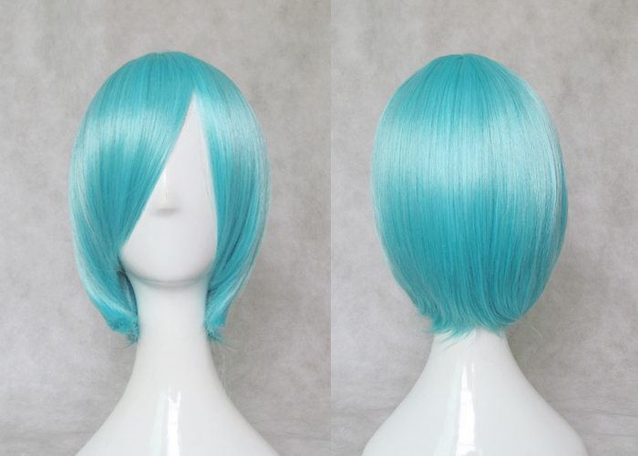 EVA Ayanami Rei TouHou Project Cirno Cosplay Wigs Synthetic Hair Aqua Blue Short  Hair With Double Ponytails + Free Hair Cap