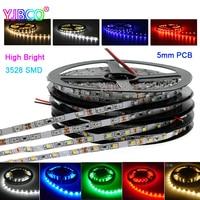 5M 3528 lado estrecho 5mm PCB blanco/caliente Blanco/azul/rojo/Verde alto brillo 300leds/600leds IP30/67/tira de led de luz de cinta