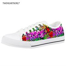Twoheartsgirl Graffiti Printed Classic Woman Low Top Canvas Shoes