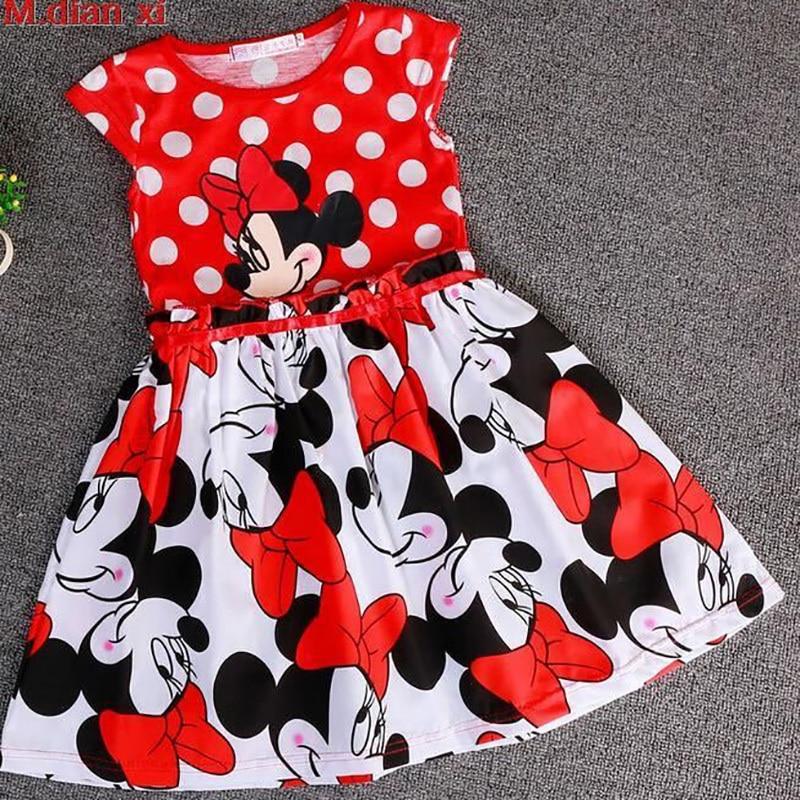 Vestido con estampado de lunares y viñetas de Minnie para niñas pequeñas, vestido de fiesta de Navidad y Halloween, prendas para niños de 2 a 6 años
