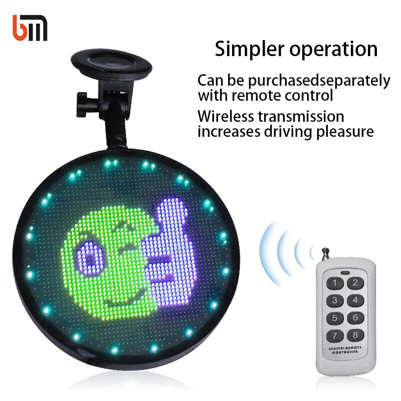 Affichage de voiture LED émoticône téléphone mobile wifi couleur tout-terrain rond fenêtre arrière LED affichage de voiture
