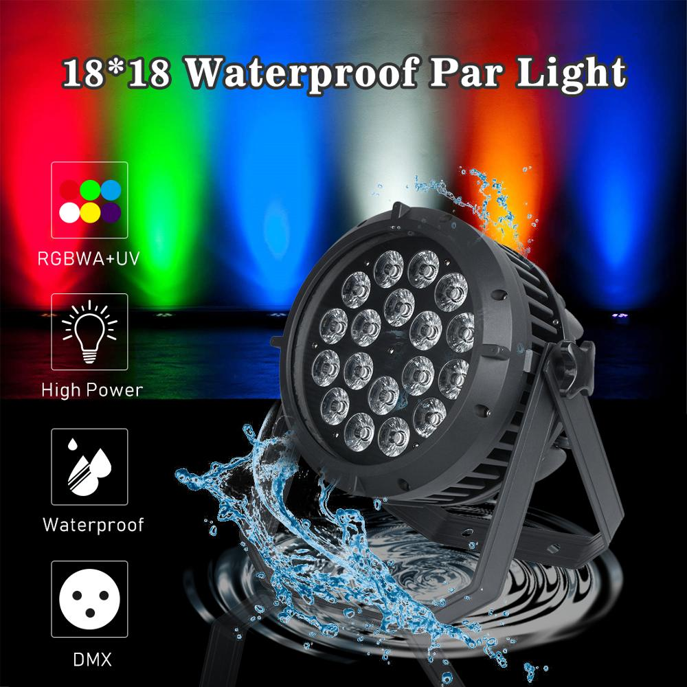 18x 18w waterproof <font><b>led</b></font> <font><b>bar</b></font> light <font><b>RGBWA</b></font> UV 6 in 1 high power stage lighting par light dmx par can for outdoor party weeding dj image