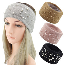 Knitted Headband Elastic Hair Band Winter Ears Pearls Wide Hairband Warmer Solid Color Soft Crochet Hair Accessories(China)